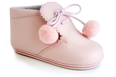Classic Pink leather Booties for Baby Girls with cotton balls