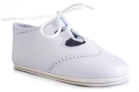 Classic Soft leather Shoes with laces unisex for Boys and Girls White