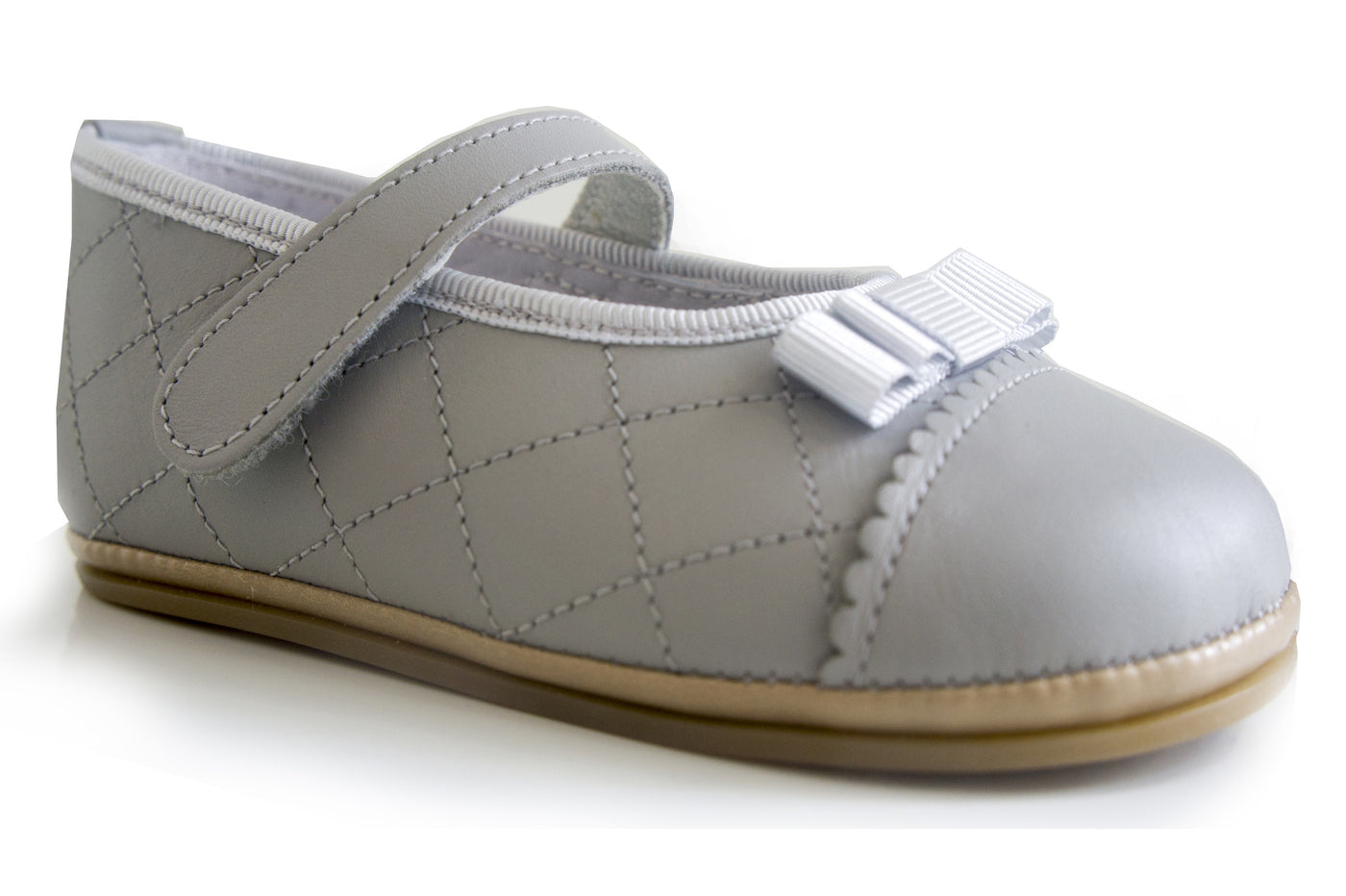 Classic Light Grey Baillerina for Girls Patucos Shoes Baby and Infants
