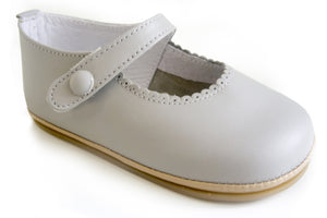 Patucos Infant Classic Grey Leather Shoes for Girls