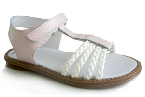 Pink and White leather Casual Sandals for Grow up Girls Patucos Shoes