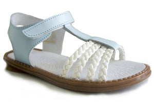 Blue and White leather Casual Sandals for Grow up Girls Patucos Shoes