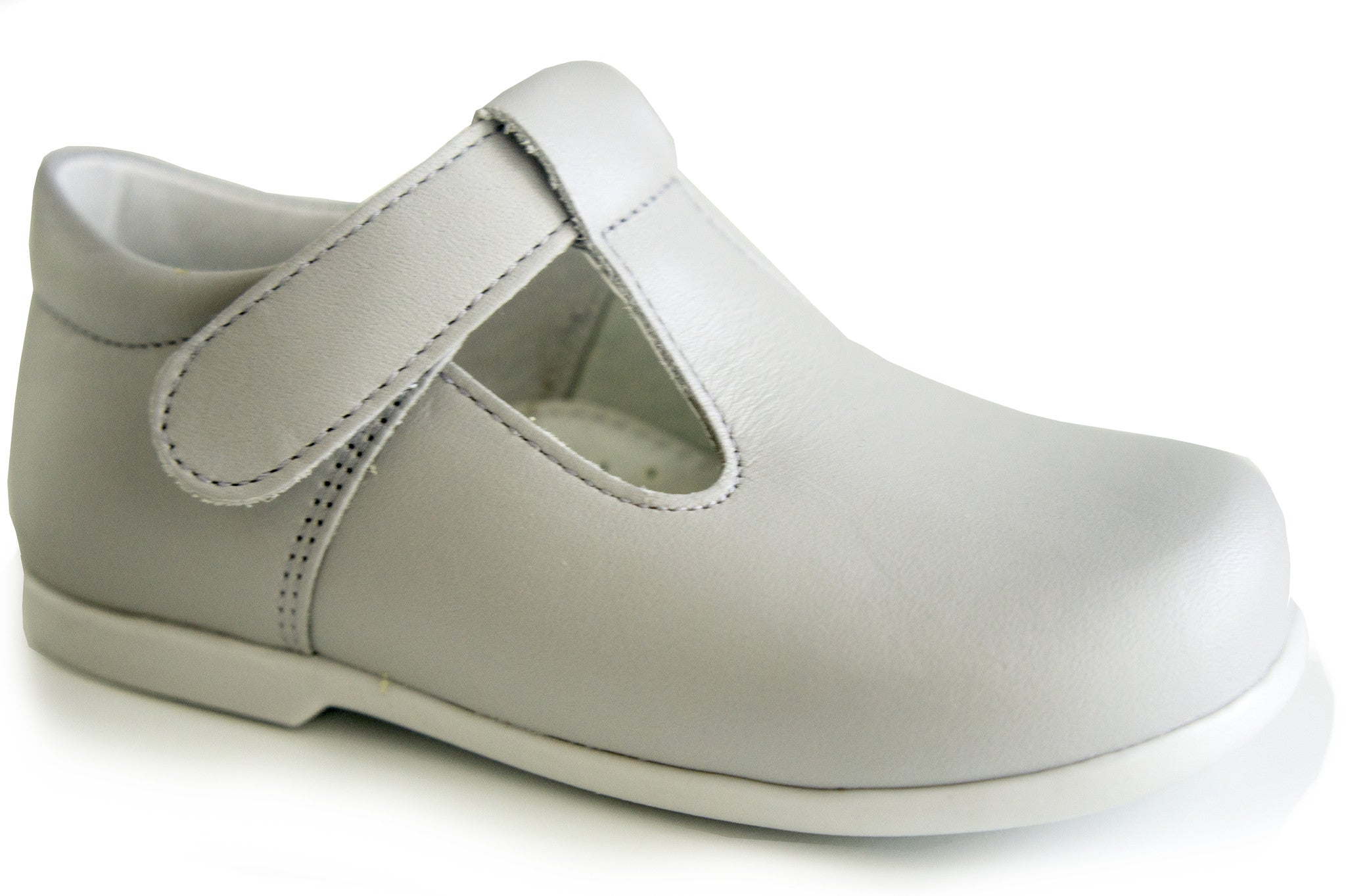 Classic Light Grey leather T-Strap Mary Janes unisex with easy open
