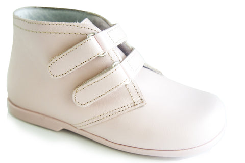 Classic Light Pink leather Boots double strap for girls by Patucos