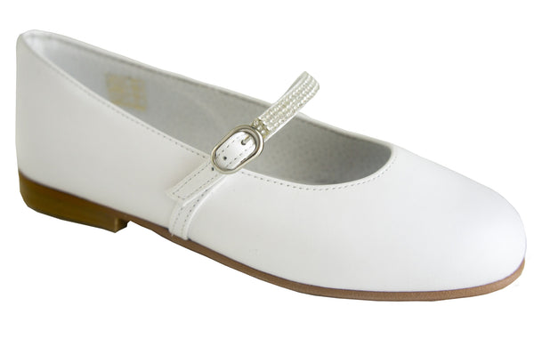 Classic White Leather with brillants details for Girls Communion Shoes by Patucos