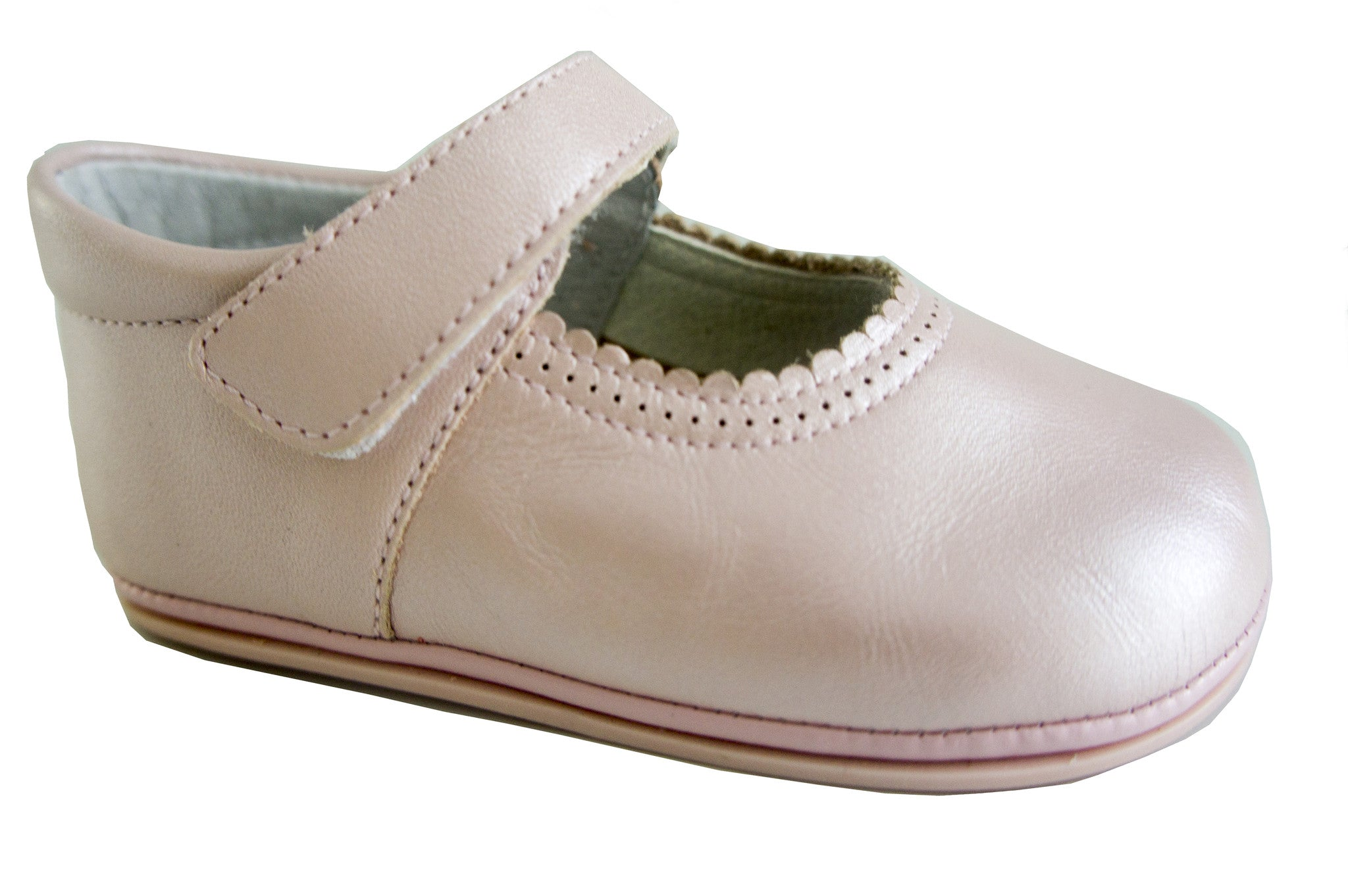 Patucos Infant Classic Sparkling Leather Pink Shoes for Girls