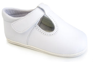 Classic White leather shoes T-Strap Mary Janes unisex with easy open
