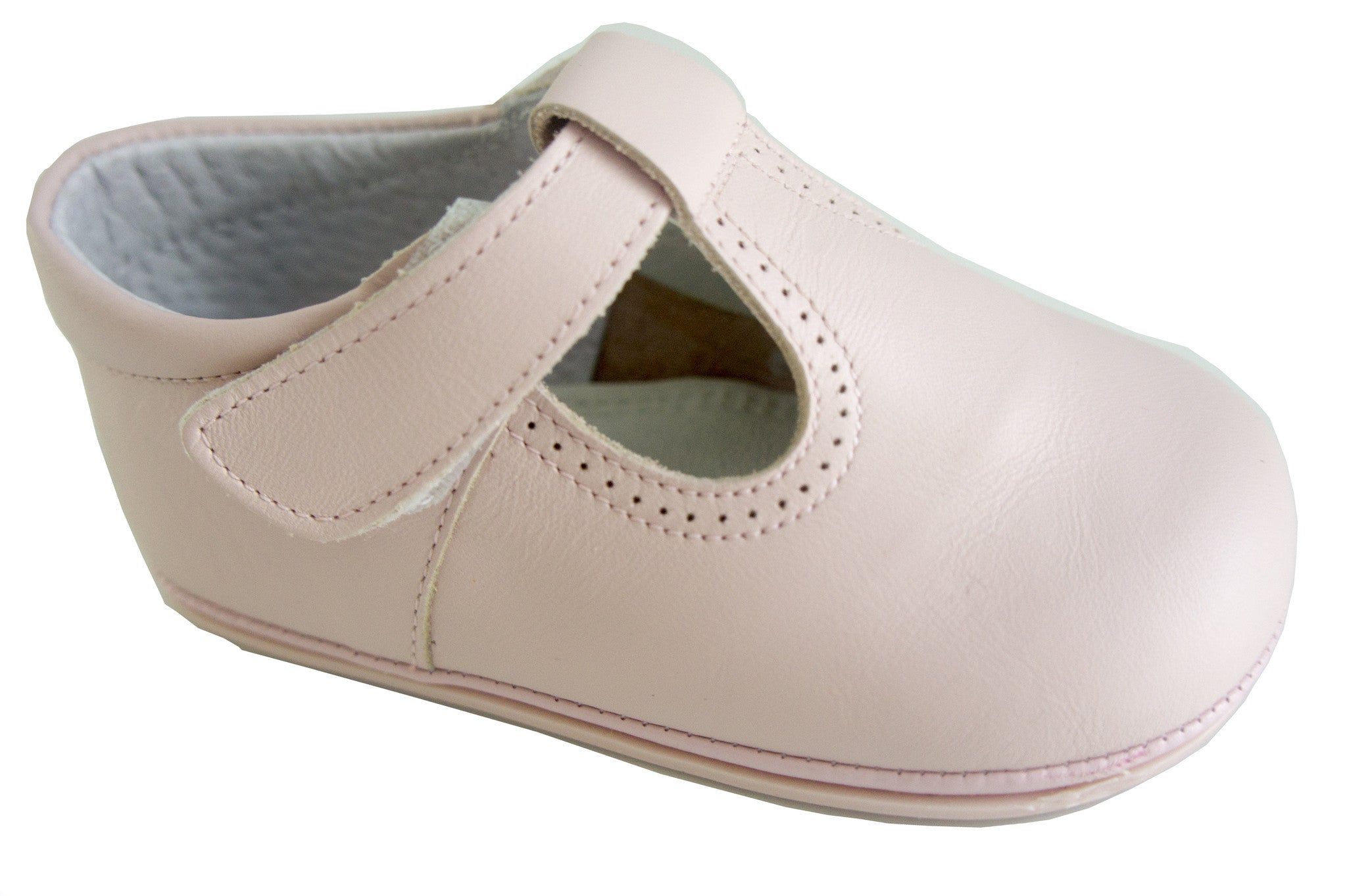Classic Pink leather T-Strap Mary Janes for Girls Patucos Classic Shoes for Baby and Infant