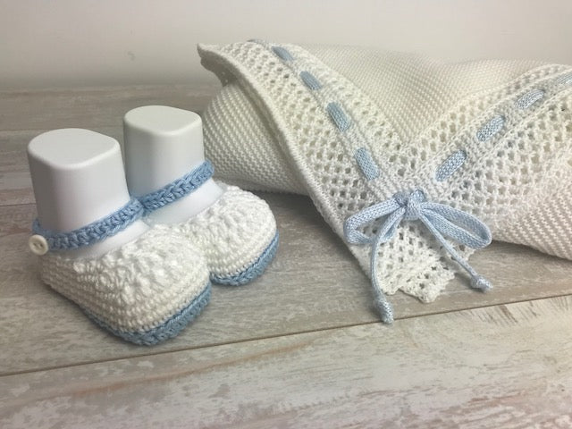 Cotton White and light blue Knit Booties