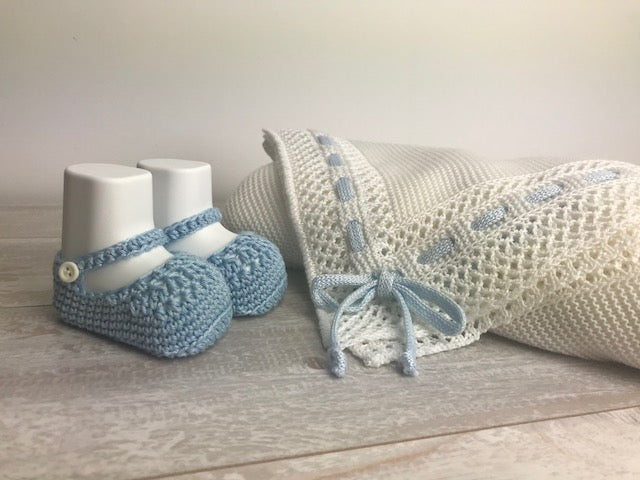 Cotton light blue Knit Booties