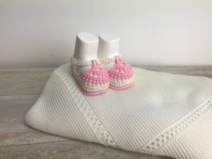 Cotton white and pink Knit Booties