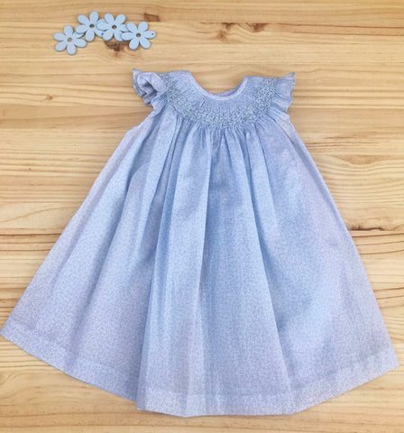 Casual Cotton Dress with ruffle shoulders little flowers blue by Patucos