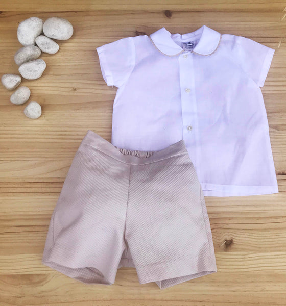 Elegant Boys Outfit- Shirt and Pants Camel