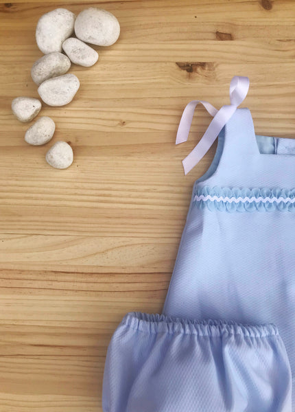 Elegant Blue Cotton Dress with White ribbons for Baby girls by Patucos