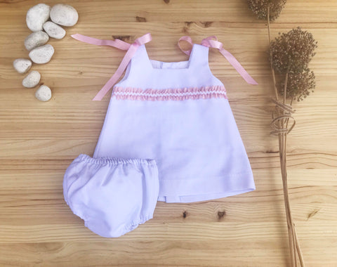 Elegant White Cotton Dress with Pink ribbons for Baby girls by Patucos