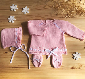 "Knit Cotton Newborn Sweater, Pants and Hood  ""Take me home set"", 3 piece by Patucos"