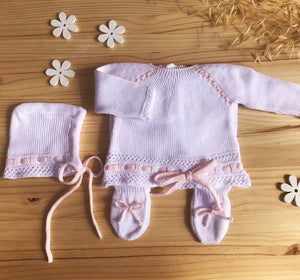 "Knit Cotton Newborn White Sweater and Pants,  ""Take me home set"" Pink lace by Patucos"