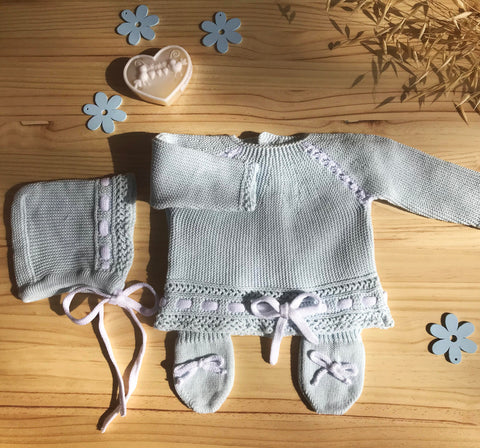 "Knit Cotton Newborn Blue Sweater and Pants,  ""Take me home set"", 3 piece by Patucos"