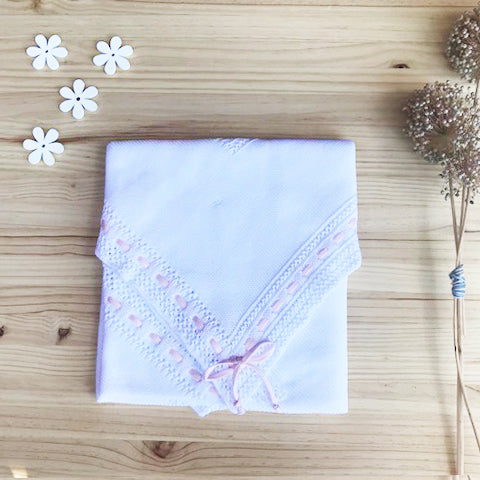 Cotton White Receiving Newborn Blanket Knit Extra Soft Light Pink Lace