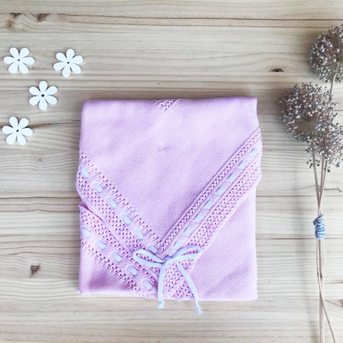 Knitted Cotton Pink blanket