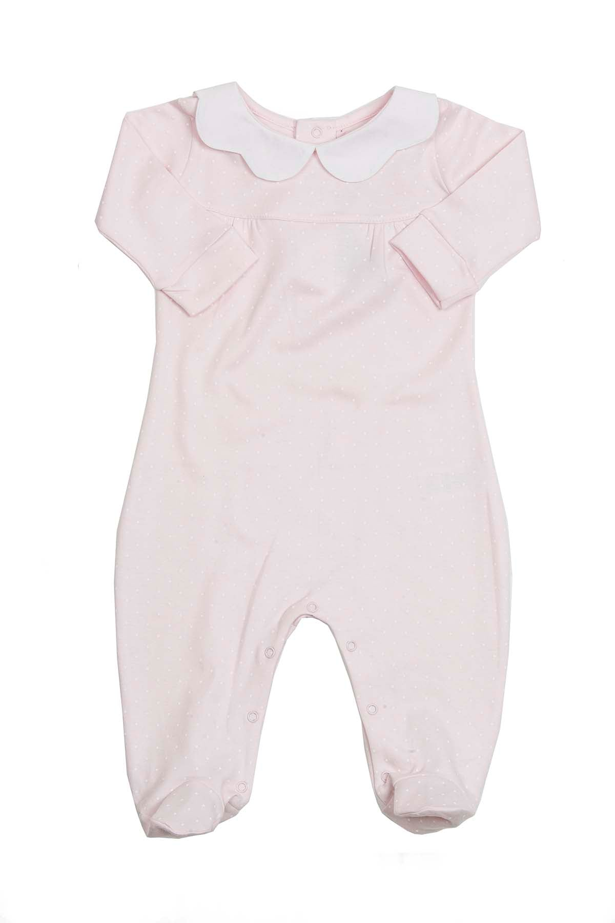 Cotton Pink Pijama with white dots and scallop neck Pima Cotton