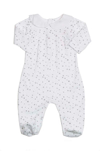 Cotton White Pajama with Grey stars Pima Cotton