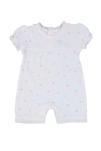 Cotton White Romper with little hearts Pima Cotton