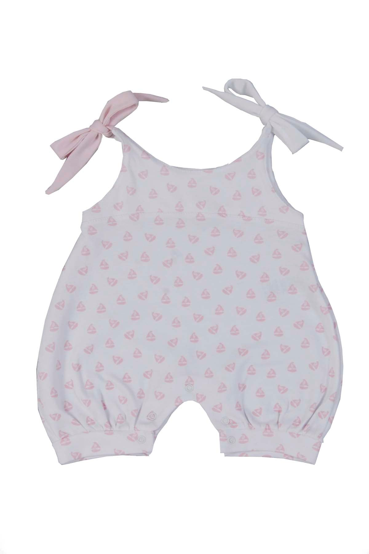 Baby Rompers Pink Boats Pima Cotton