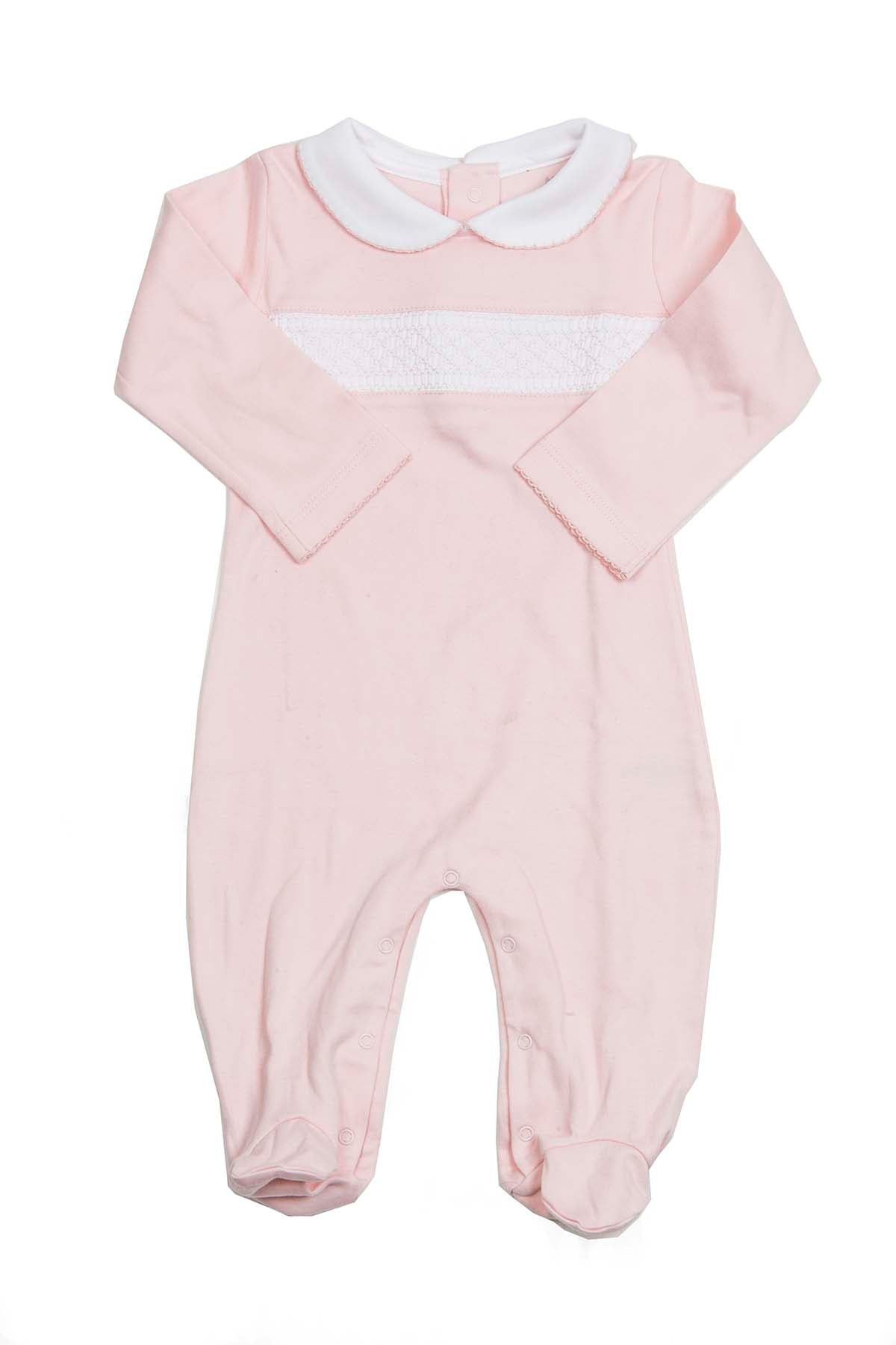 Cotton Pink smock Pajama with scallop neck