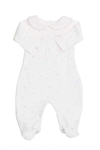 Cotton White Pajama with hearts Pima Cotton