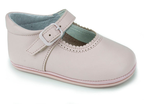 Patucos Soft Leather Mary Janes Pink Shoes for girls