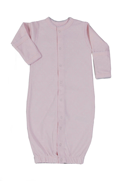 Convertible Newborn Gown Pink with White dots Pima Cotton