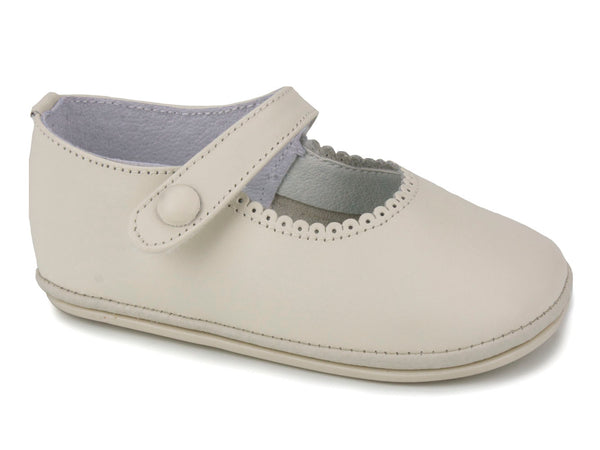 Patucos Casual Soft Leather Mary Janes Beige Shoes for Girls