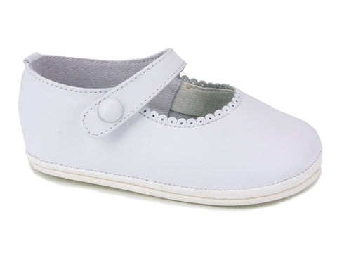 Patucos Casual Soft Leather Mary Janes White Shoes for Girls