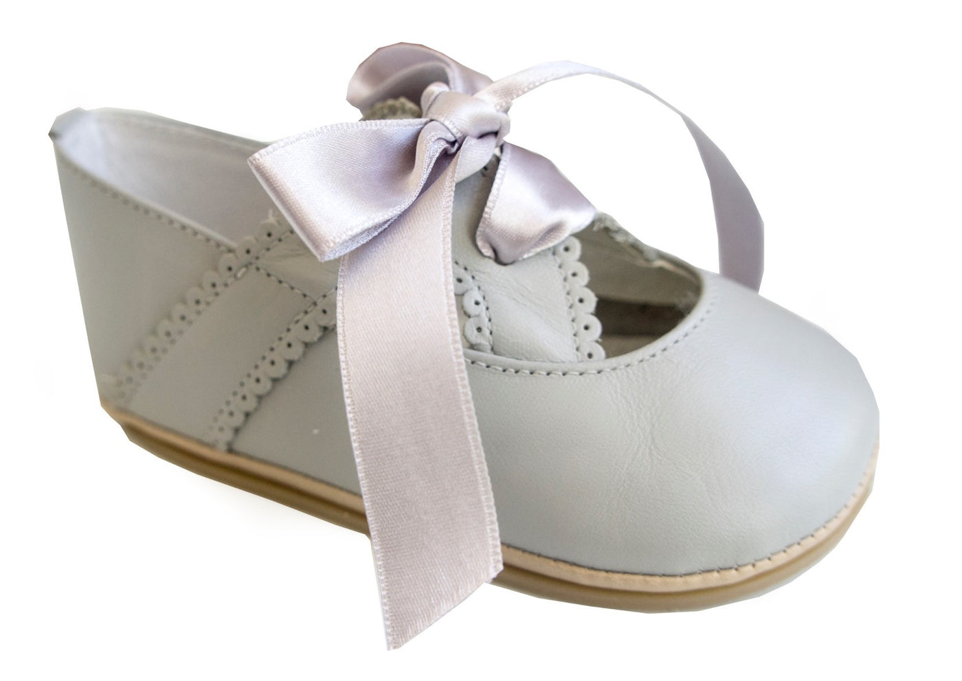 Patucos Infant Classic soft Leather Grey Shoes for Girls