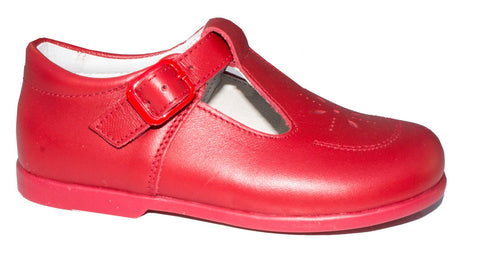 Patucos Infant Classic Red Leather Shoes for Boys