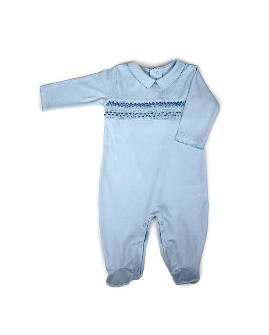 NEW COLLECTION- Smocked Cotton Pajama Pima Cotton Blue 100% PIMA