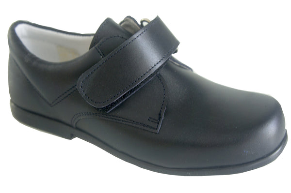 Classic Navy Easy Strap Leather School Shoe Unisex by Patucos