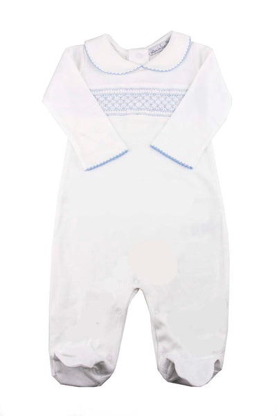 Cotton White Pajama with blue Smock Pima Cotton