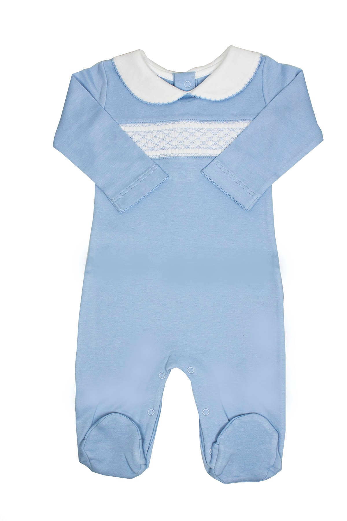 Cotton Blue Pajama with white Smock Pima Cotton