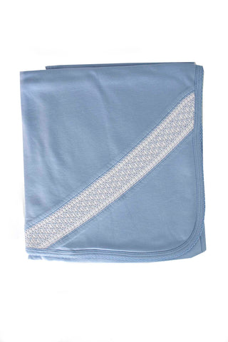 Cotton Blue Blanket White Smock Pima Cotton