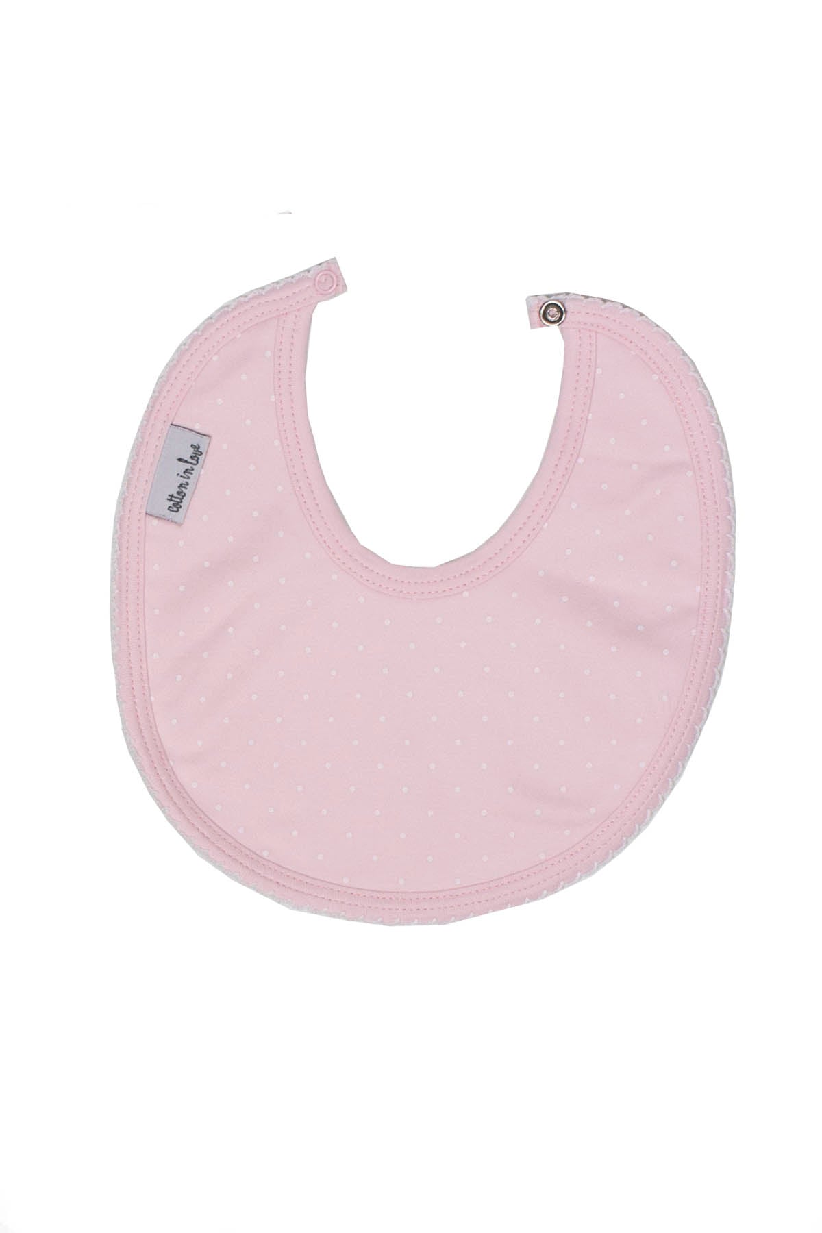 Pima Cotton Bib Pink little white dots