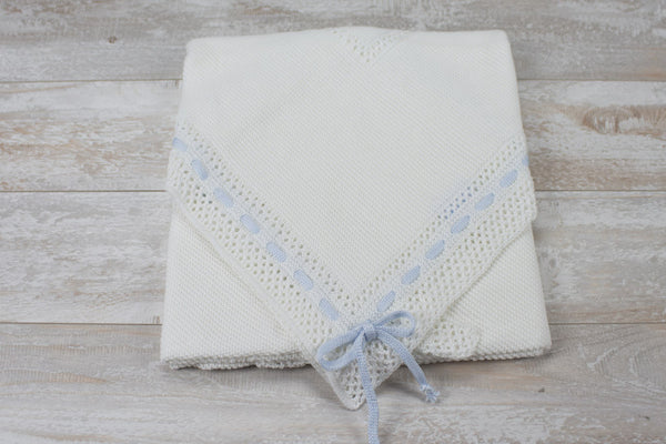 Cotton White Receiving Newborn Blanket Knit Extra Soft Light Blue Lace