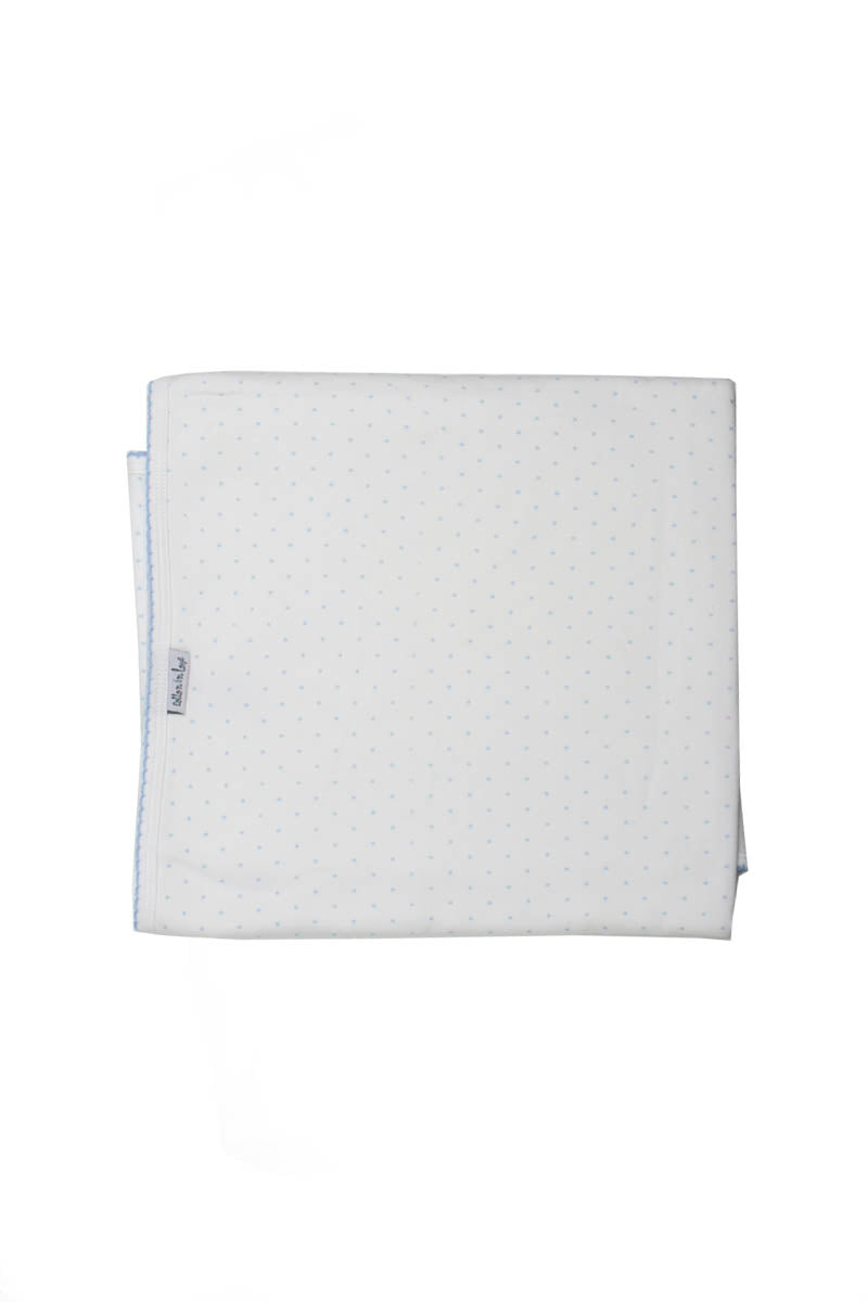 Cotton Blanket Pima Cotton White with blue dots