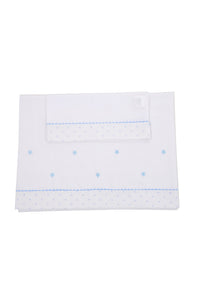 Blue star cot sheet set