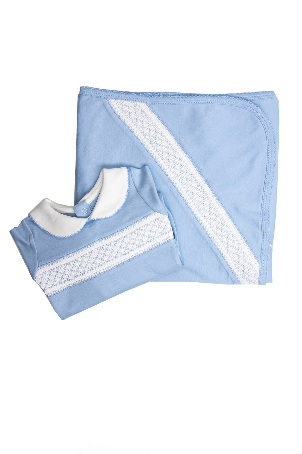 Cotton Blue Pajama with blanket White Smock Pima Cotton SET