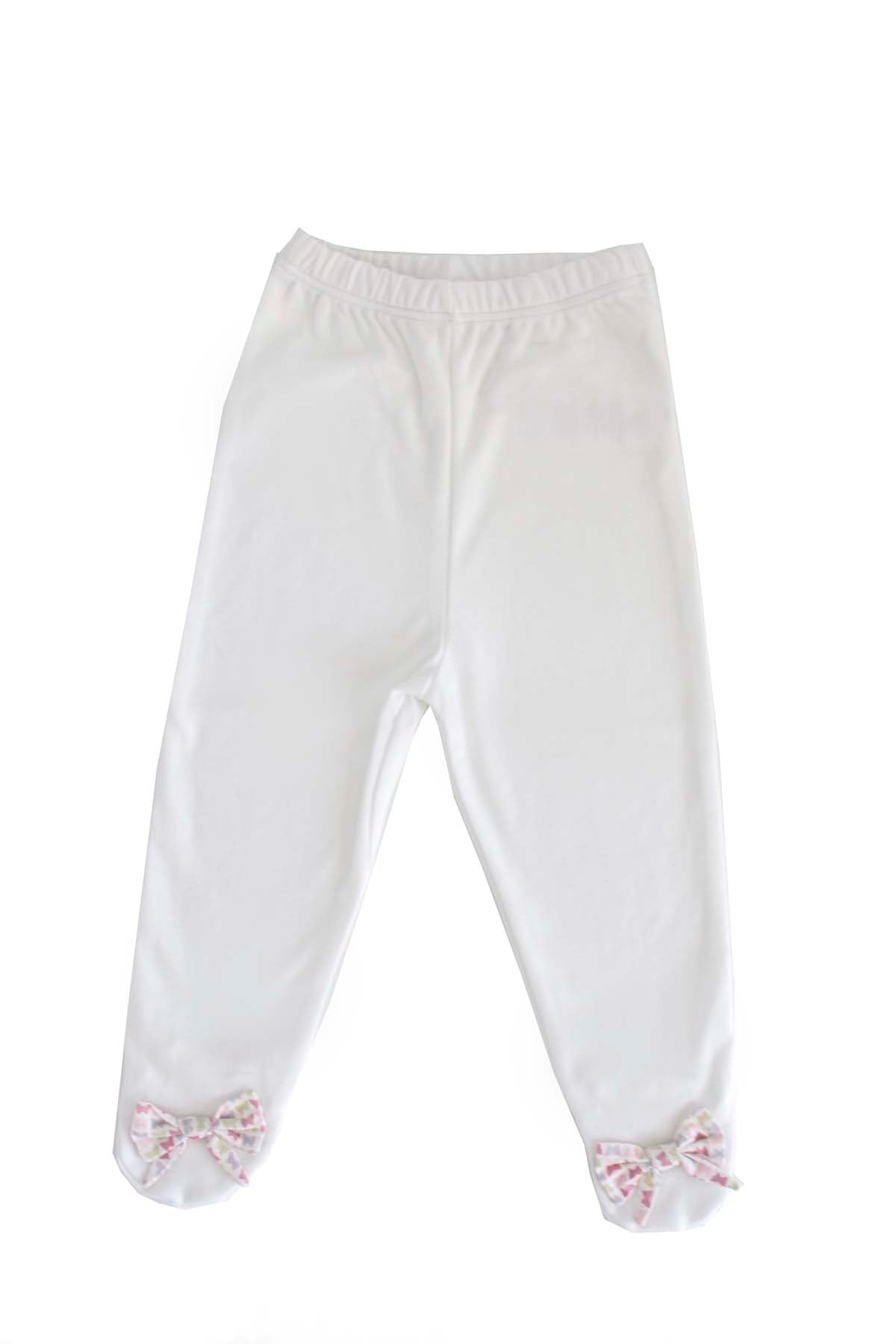 White Pants with butterfly details in the bottom Pima Cotton