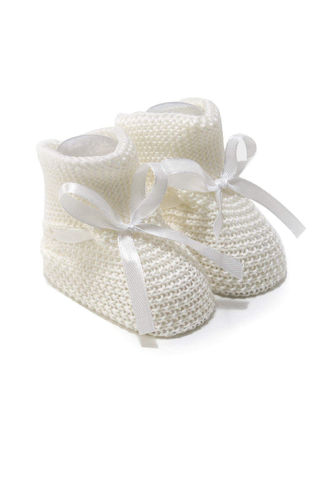 Classic Knit Booties Off White with satin lace
