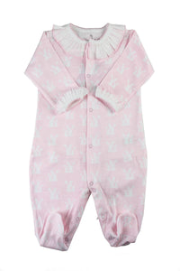 Cotton Pink Pajama with White Bunnies Pima Cotton