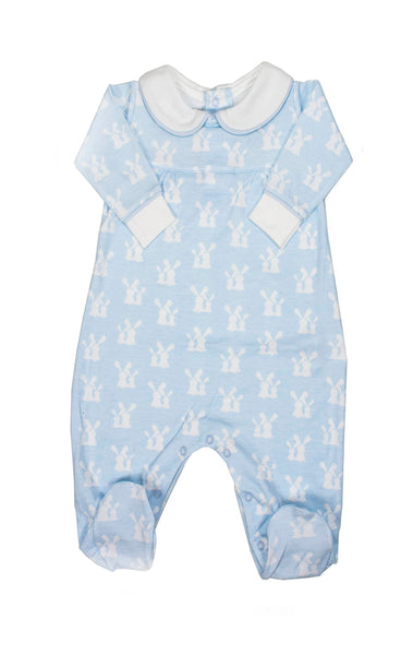 Pima Cotton Light Blue Pajama with white Bunnies
